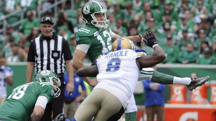 Saskatchewan Roughriders kicker Brett Lauther boots a field goal during second half Labour Day CFL action against the Winnipeg Blue Bombers in Regina on September 2, 2018.