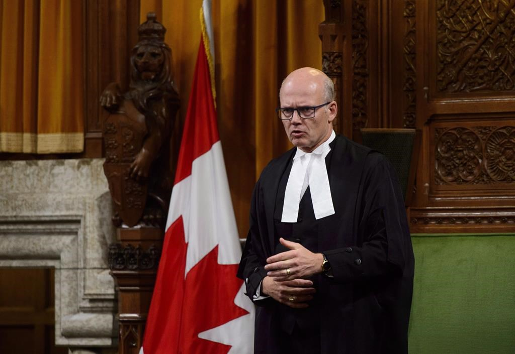 Speaker of the House of Commons of Canada Geoff Regan stands during question period in the House of Commons on Parliament Hill in Ottawa on Tuesday, Sept. 25, 2018.