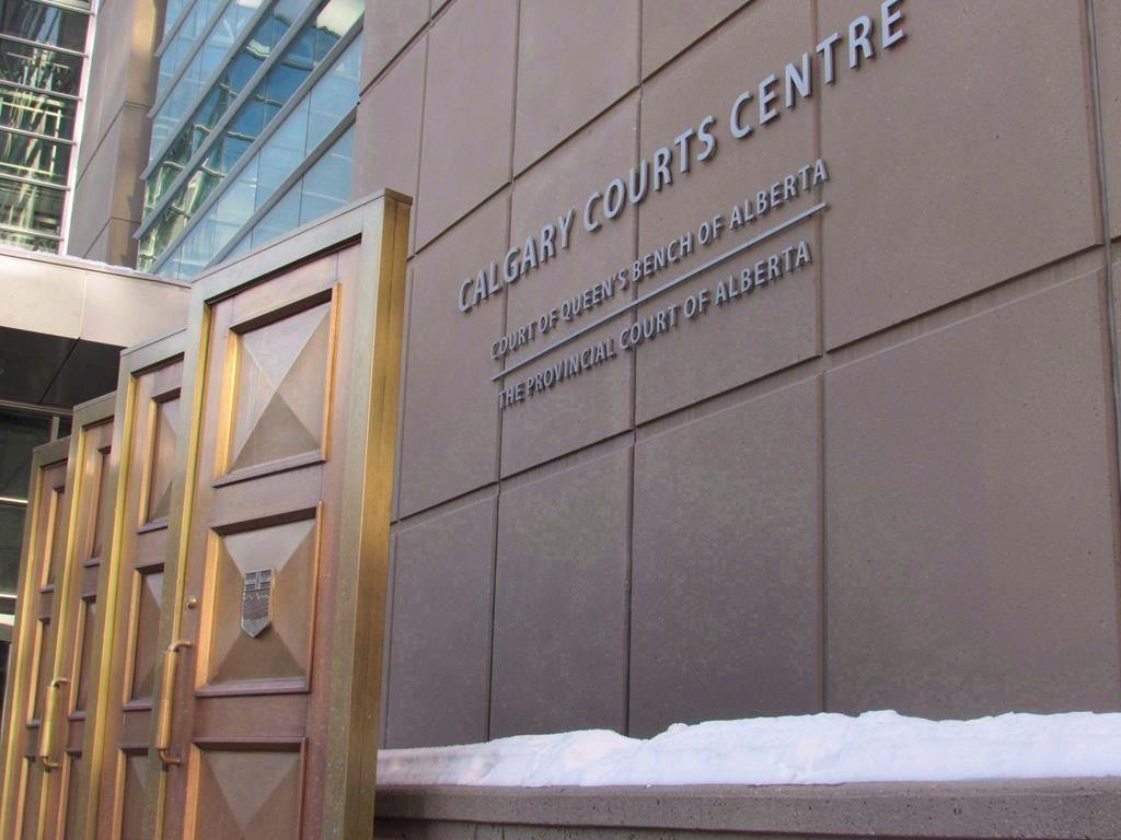 The sign at the Calgary Courts Centre in Calgary is shown on Friday, Jan. 5, 2018.