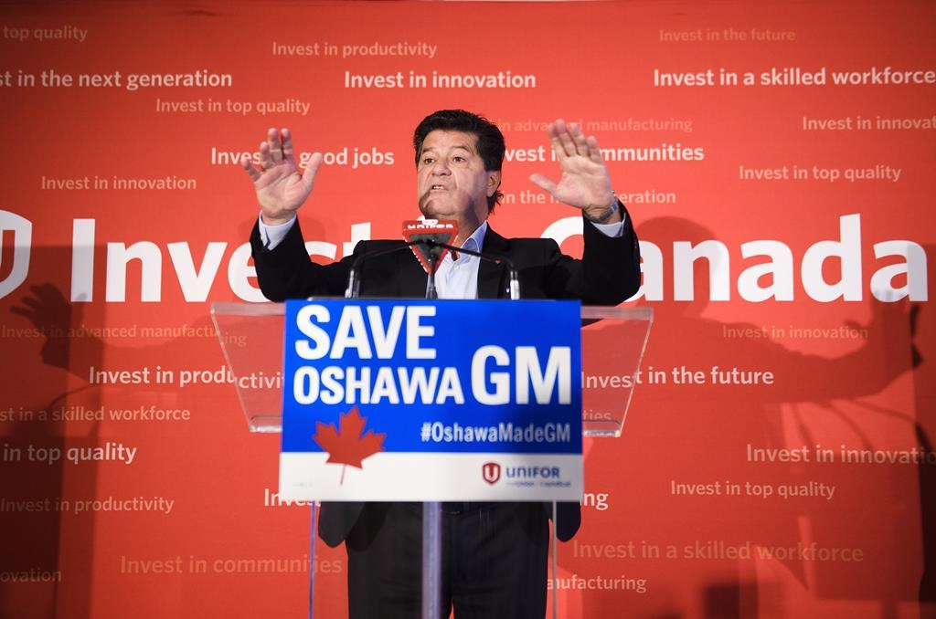 Unifor National president Jerry Dias speaks during a press conference in Toronto on Jan. 25, 2019.