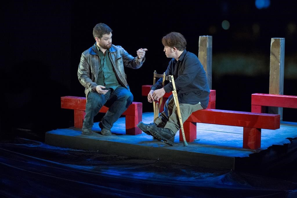 """Actors Pat Dempsey (left) and Paul David Power are shown in a scene from the play """"Crippled."""" A Newfoundland playwright says his battle for a visa to perform in the United States shows the barriers independent artists face when telling diverse stories. The U.S. Department of Homeland Security rejected a detailed application to bring Power's autobiographical play """"Crippled"""" to perform at a San Francisco theatre."""
