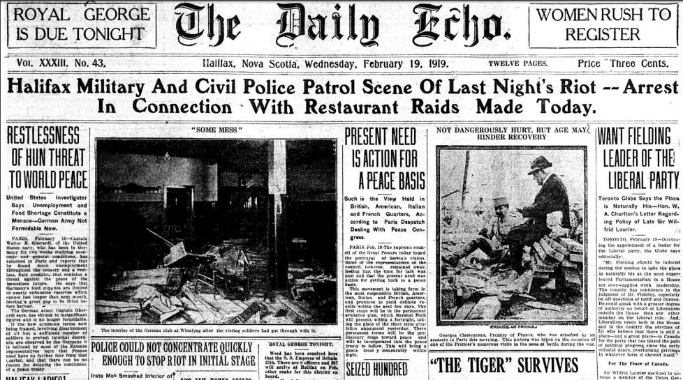 The front page of The Daily Echo on Feb. 19, 1919.
