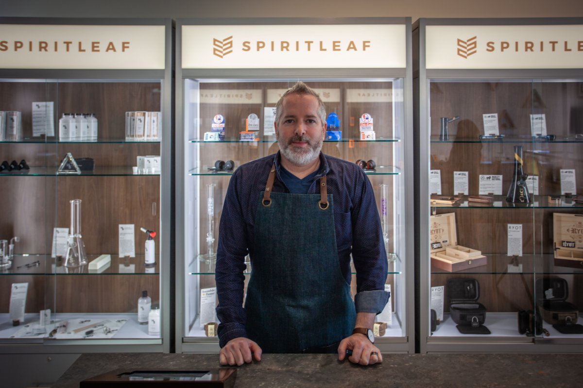 CEO of Spiritleaf Darren Bondar stands at a Calgary retail store. The company has applied to open a retail location in Kingston.