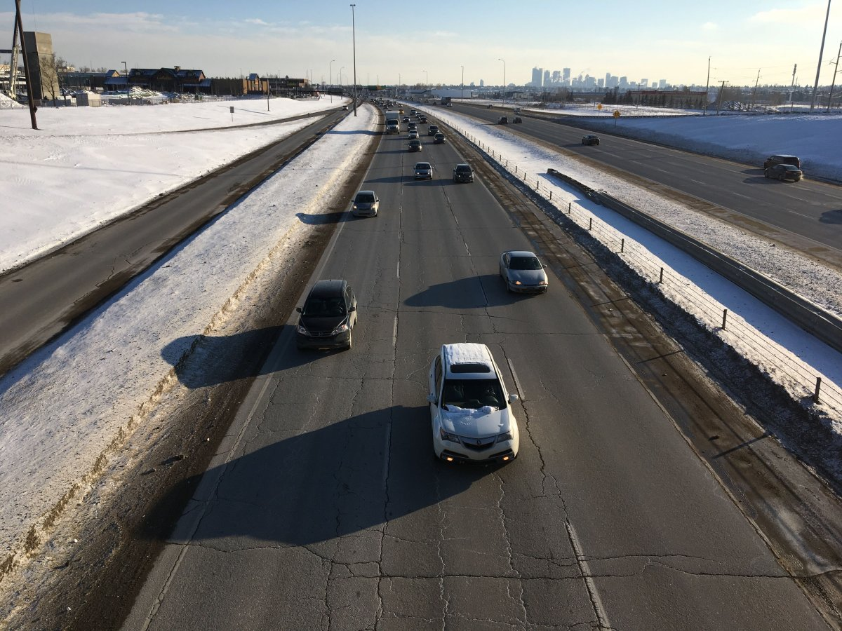 Drivers on Deerfoot Trail on Monday, Feb. 25.