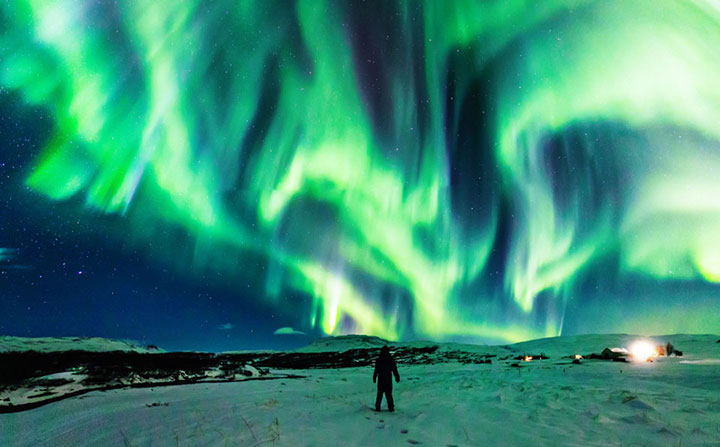 Dragon-shaped Northern Lights on a display over Iceland.