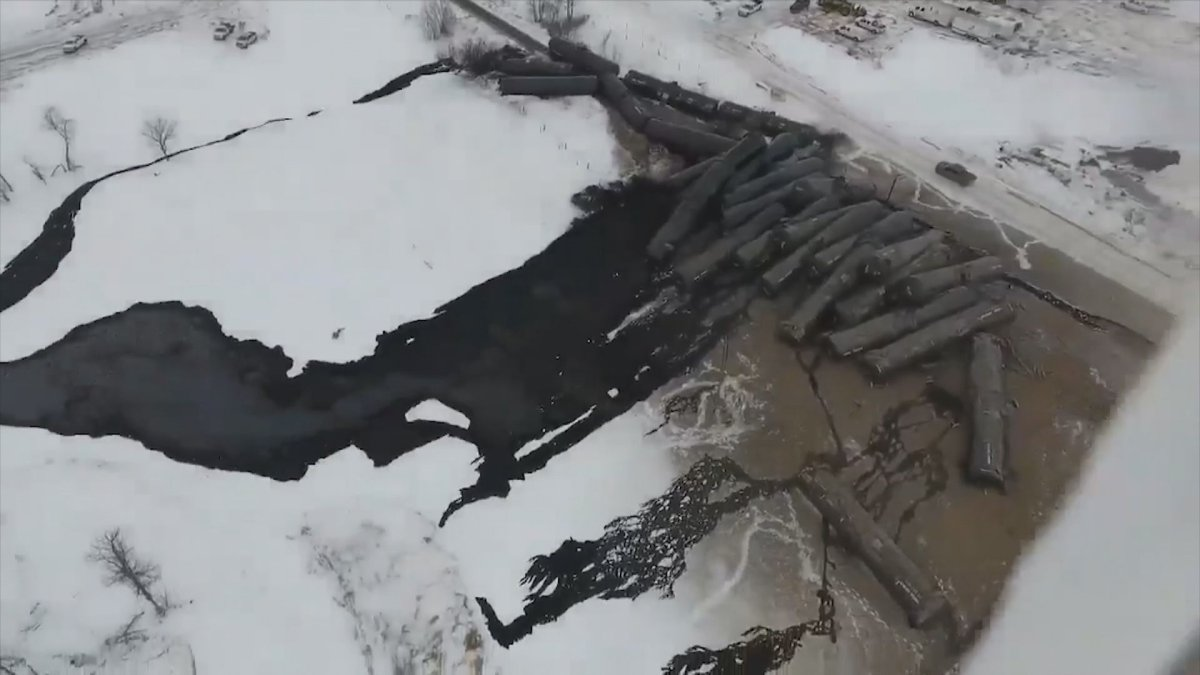 The aftermath of an oil spill in St. Lazare, Man., captured by a drone.