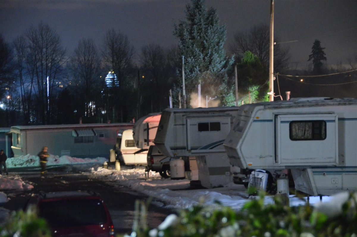 One man was injured in a fire at the Plaza RV park on Friday night.