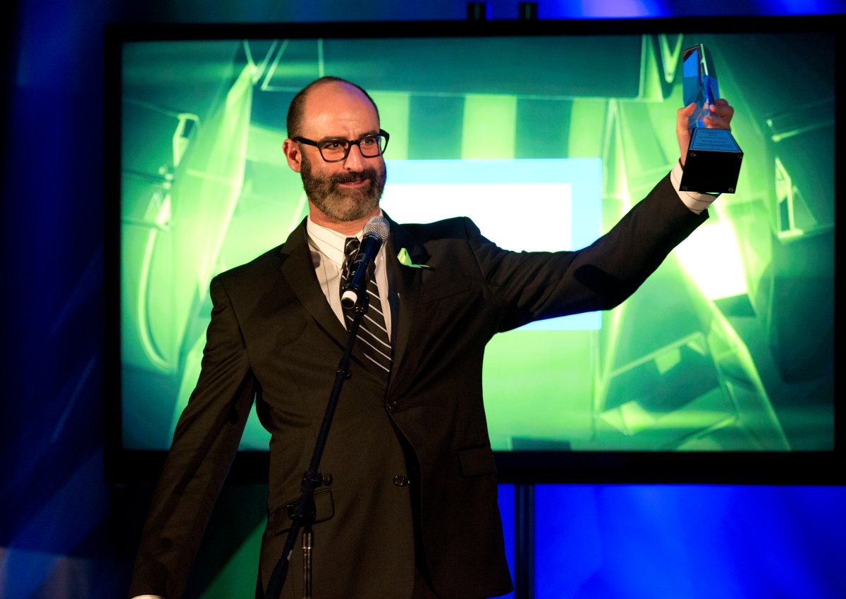Comedian Brody Stevens accepts the EIC President's Award at the 18th Annual PRISM Awards at Skirball Cultural Center on April 22, 2014, in Los Angeles, California.