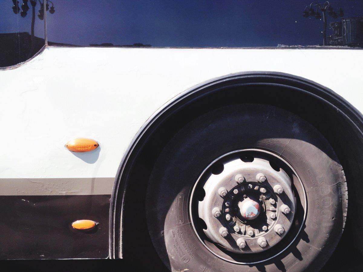A close up of a bus.