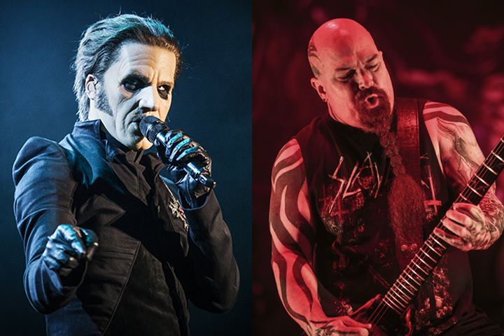 (L-R) Tobias Forge (best known as Cardinal Copia) of Ghost and Kerry King of Slayer performing live in 2018.