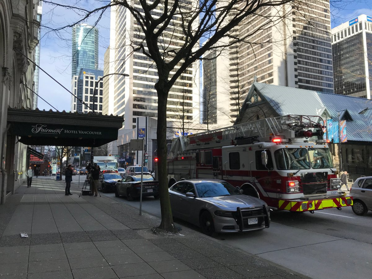 First responders on scene at the Hotel Vancouver Monday morning.