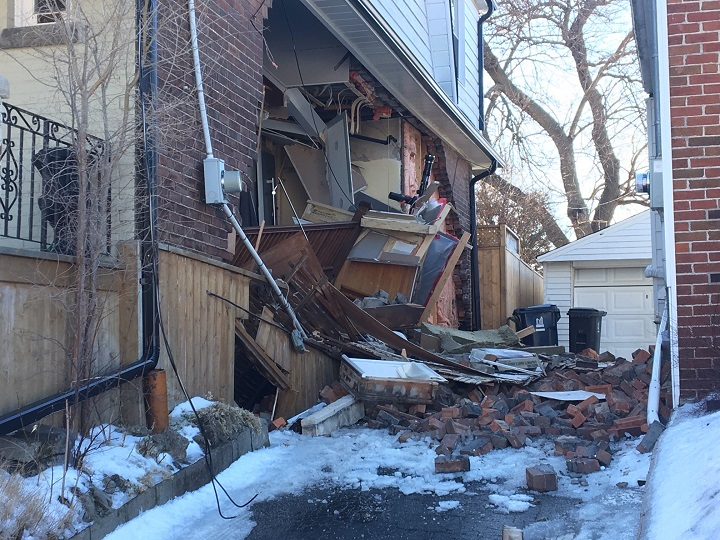 Part of this Scarborough home collapsed on Saturday. Toronto firefighters say the home was under renovation.