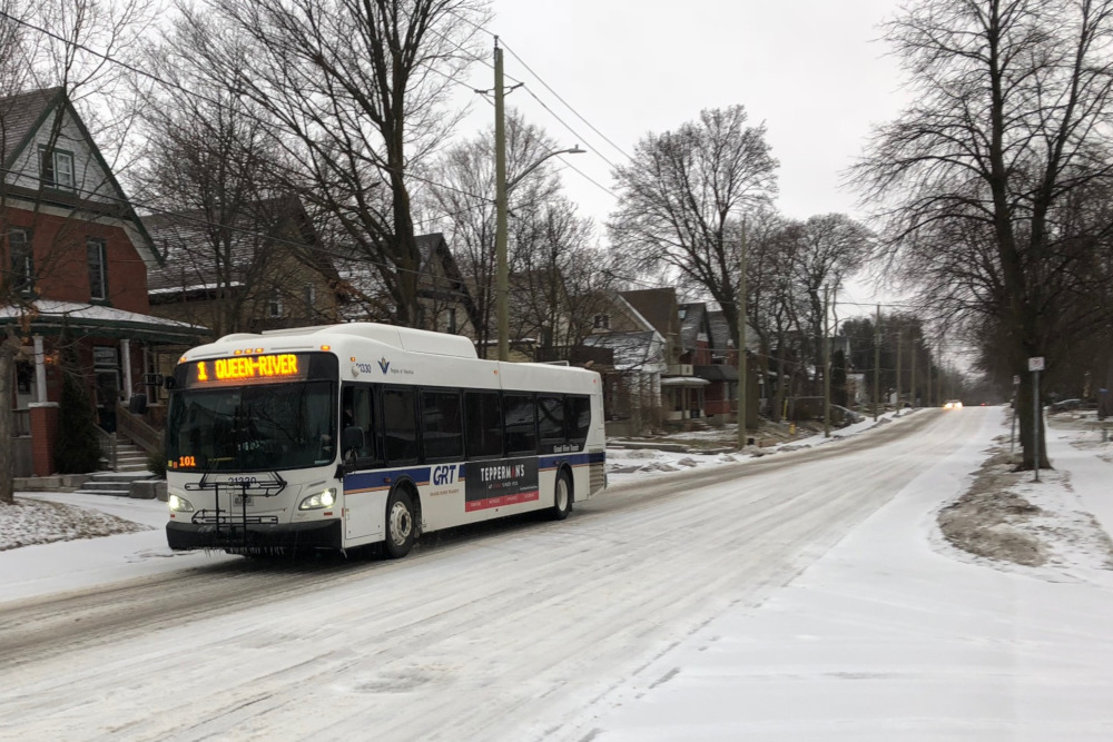 A Grand River Transit bus travels down Krug Street in Kitchener during Wednesday's storm.