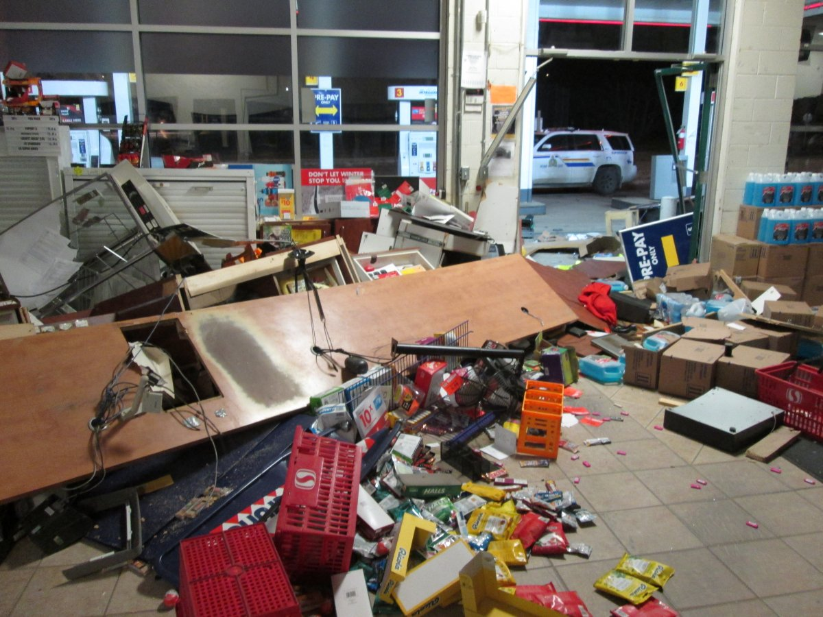 Damage at a southern Alberta business from an ATM theft.