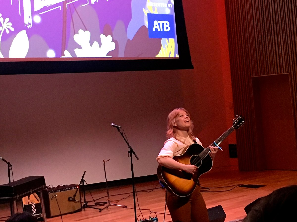 Canadian singer songwriter Basia Bulat takes the stage at the Calgary Central Library during the 2019 Block Heater music festival.