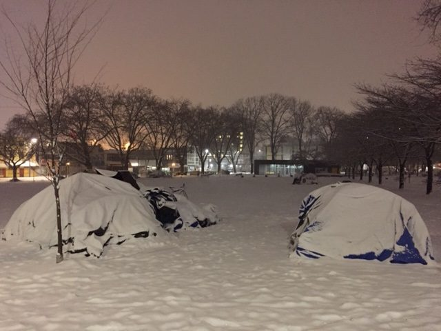 Homeless campers in Oppenheimer Park in February.