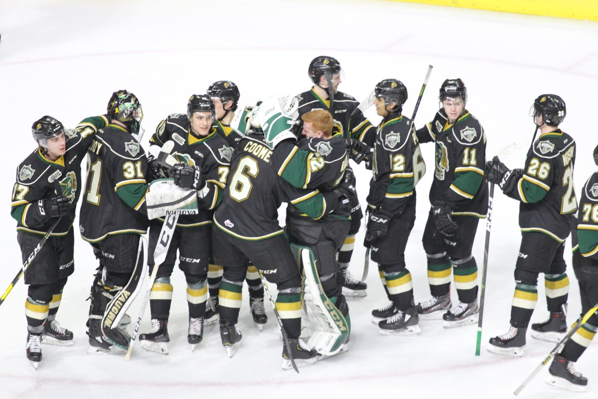 London, Ont. - The London Knights congratulate defenceman Riley Coome after his first OHL goal stands up as the game winner in a 4-2 victory over Kitchener on February 2, 2019.