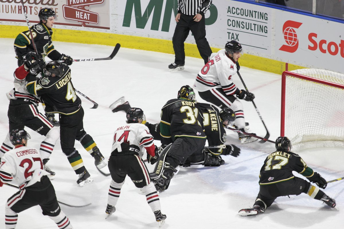 Four Knights players attempt to fend off four Storm players as London and Guelph meet on Feb. 26, 2019 at Budweiser Gardens in London.