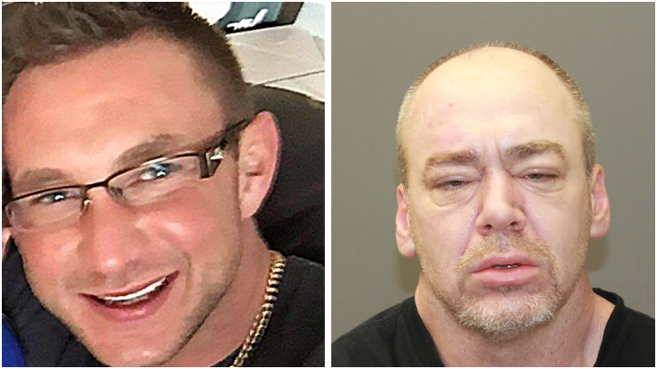 Kamloops RCMP say Gordon Wayne Braaten (left) and Hugh Alexander McIntosh (right) have been charged with murder and attempted murder. Their whereabouts are currently unknown.