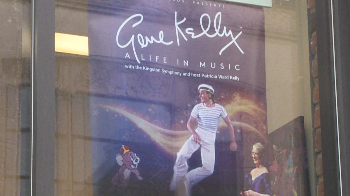 Gene Kelly poster in window of Kingston's Grand Theatre where performances will take place.