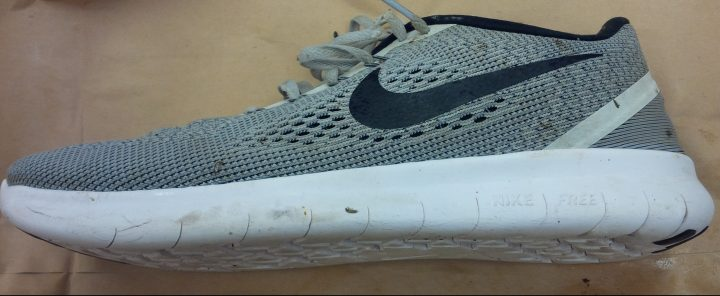 A human foot was discovered inside a Nike running shoe.