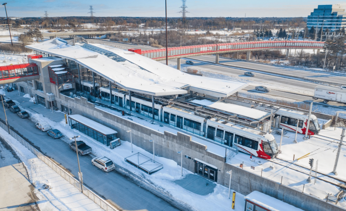 A photograph of the Blair LRT station, the final stop at the eastern tip of the Confederation Line.