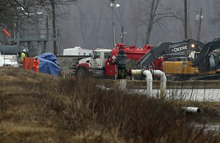 Excavation equipment is used to search for an oil leak close to where the TransCanada Corp's Keystone oil pipeline runs through northern St. Charles County off of Highway C, Thursday, Feb. 7, 2019, near St. Charles, Mo. The source of the oil leak has not yet been identified but the Keystone oil pipeline has been shut and the Missouri Department of Natural Resources official said the the release is stopped.