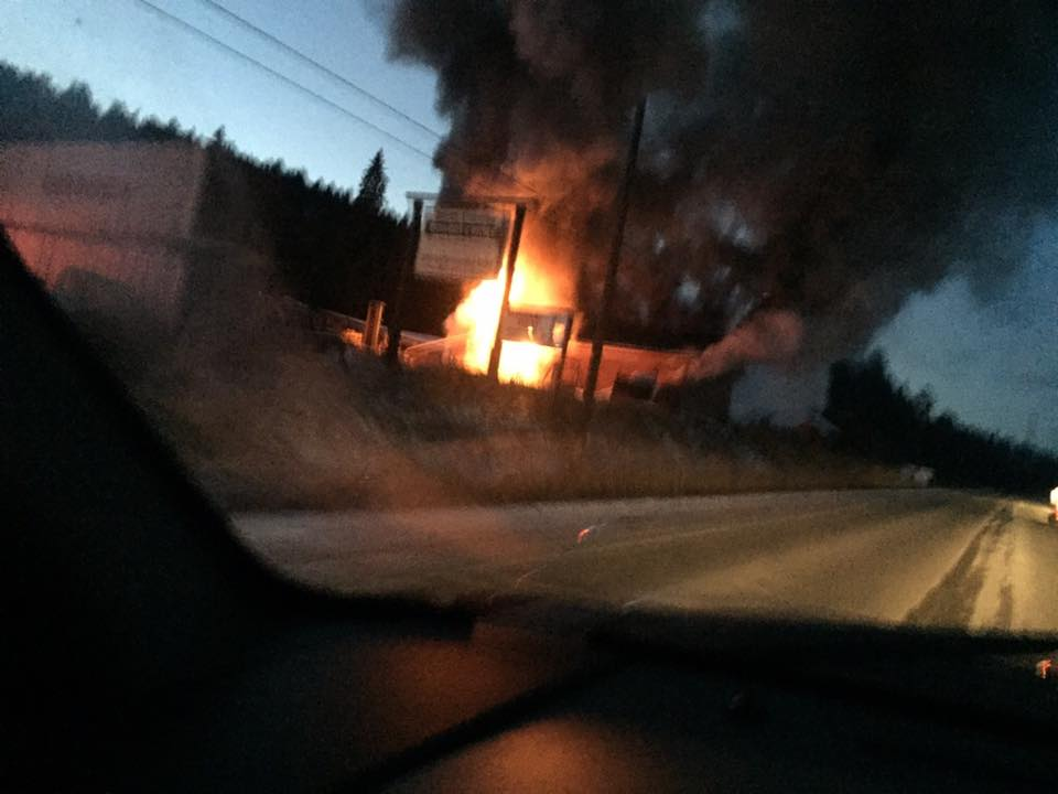 A mill near Enderby caught on fire Monday night.
