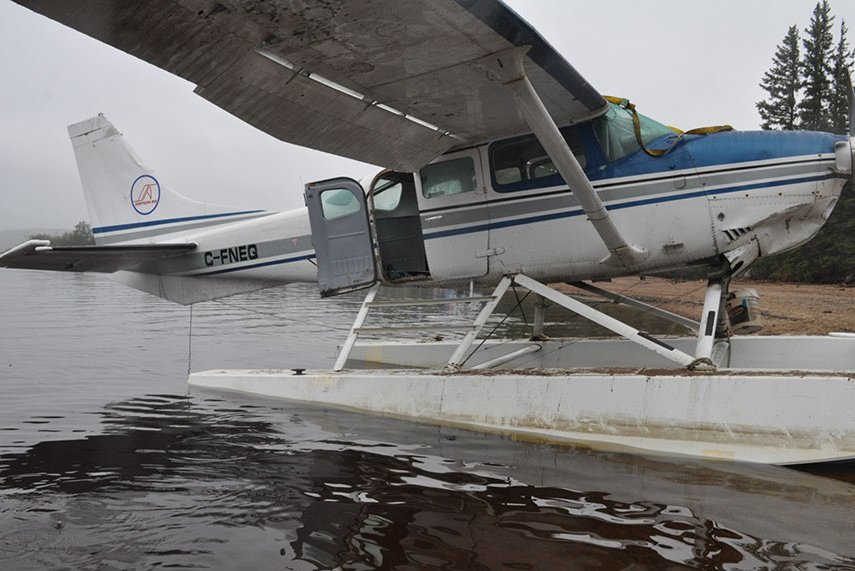 The Cessna 206 aircraft that lost control and became partially submerged on Little Doctor Lake, Northwest Territories on August 16, 2018.