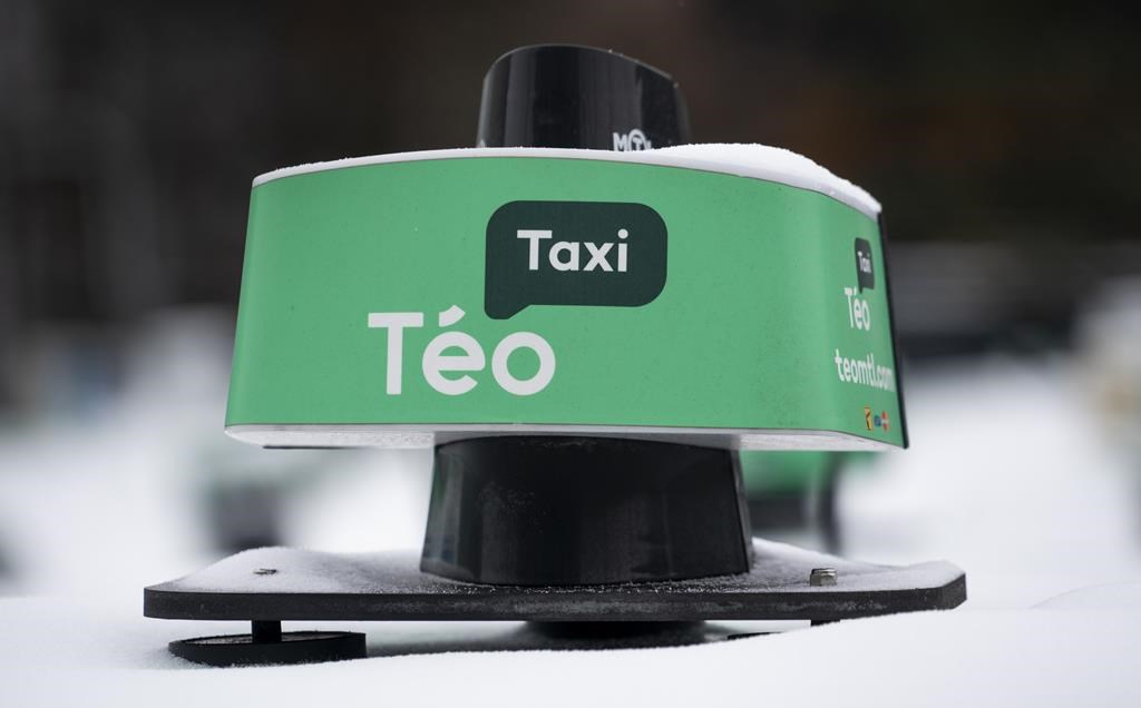 A taxi dome is seen in a Teo Taxi parking lot in Montreal on Tuesday, January 29, 2019.