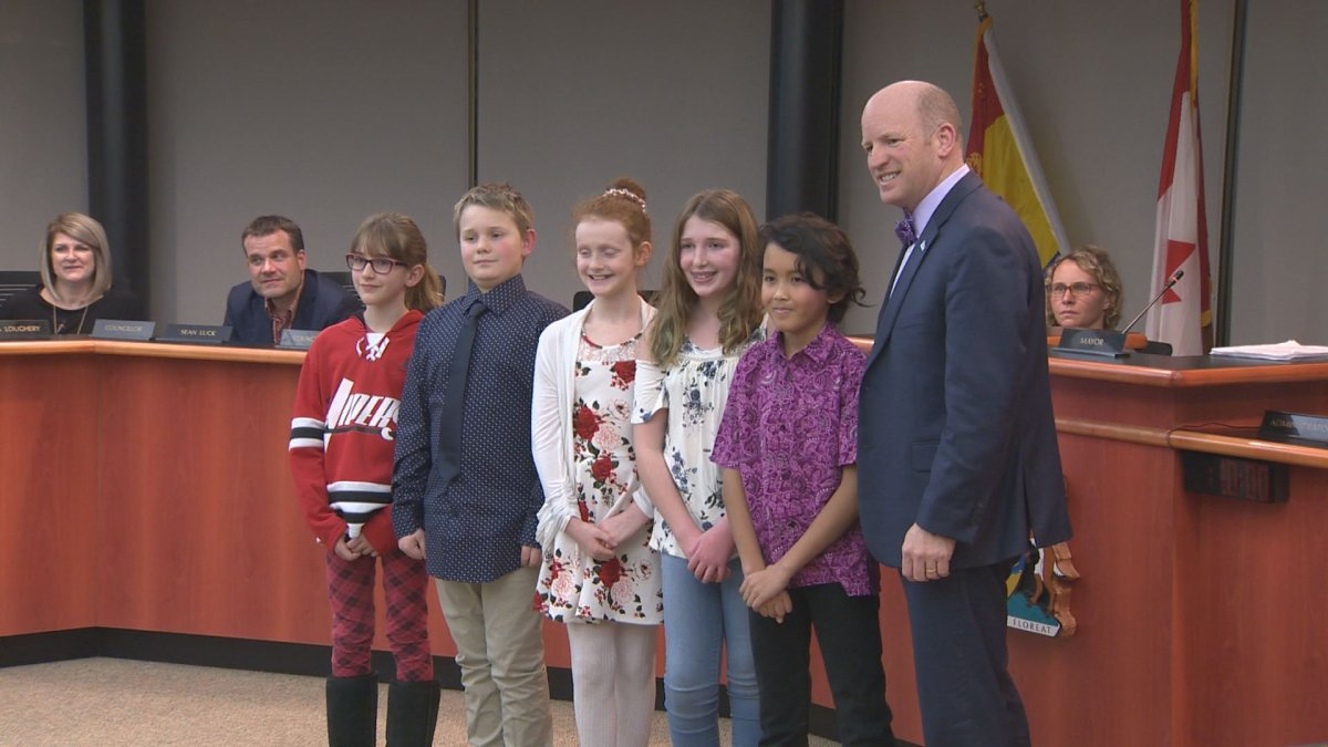 Grade 5 students from Ecole Des Pionniers in Quispamsis, N.B., petitioned town council to sign the Citizens' Universal Declaration of Climate Emergency.