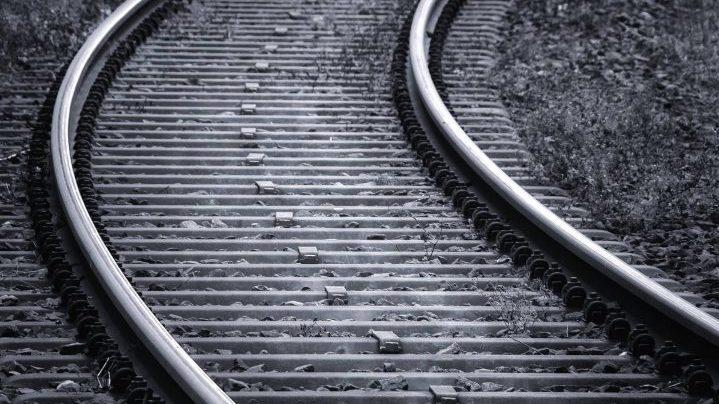 Train tracks on the prairies.