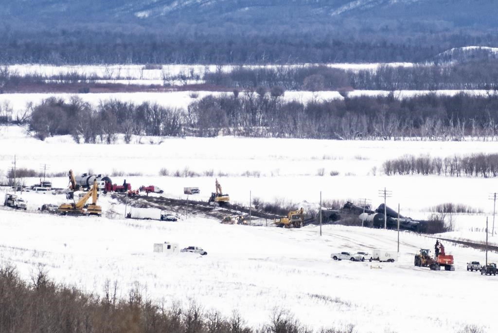 Excavators work at the site of a train derailment ten-kilometres south of St. Lazare, Man. on Saturday February 16, 2019. THE CANADIAN PRESS/Michael Bell.