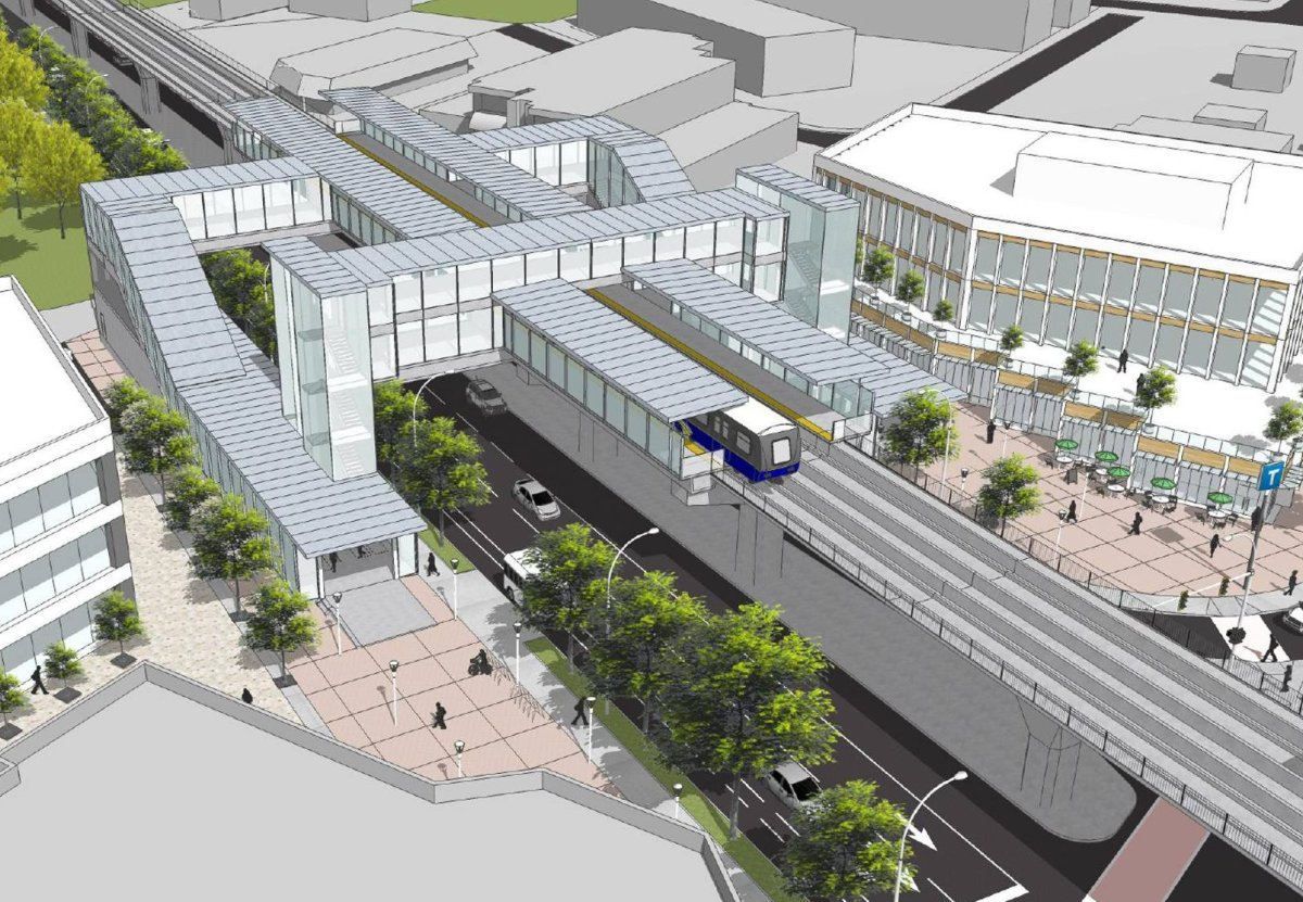 An artist's conception of what a future Surrey-Langley SkyTrain station could look like.