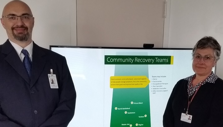Robert Stephenson, director for mental health and addictions South East, and Theresa Girardin, supervisor mental health & addictions recovery services, in Weyburn for the official launch of their new Community Recovery Team.