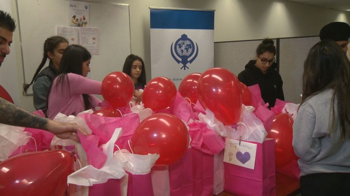 Members of Calgary's Sikh community prepared Valentine's Day care packages on Tuesday night.