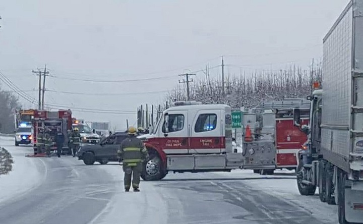 A two-vehicle collision on Highway 97 occurred near Oliver on Friday morning, killing one of the passengers.