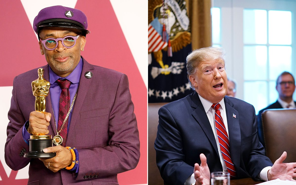 (L-R): Spike Lee and Donald Trump.