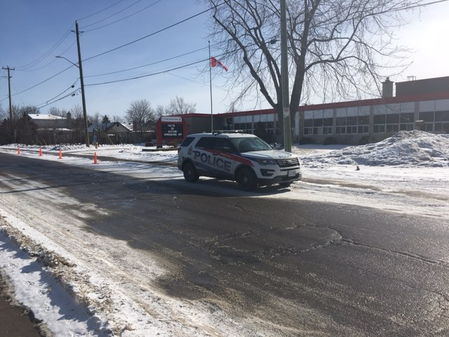 Kingston police responded to an alleged bomb threat school board officials say were called into St. Paul Catholic School on Monday morning.