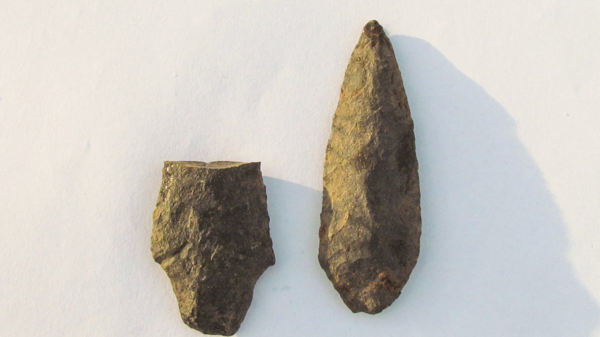 Two stone tools that the Unist'ot'en Clan of the Wet'suwet'en First Nation say were found at the proposed site of a Coastal GasLink work camp.