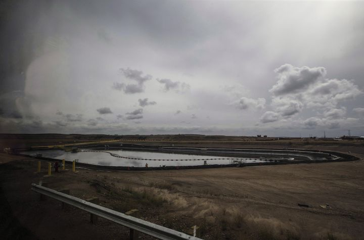 A tailings pond at Suncor Fort Hills in Fort McMurray Alta, on Monday September 10, 2018.