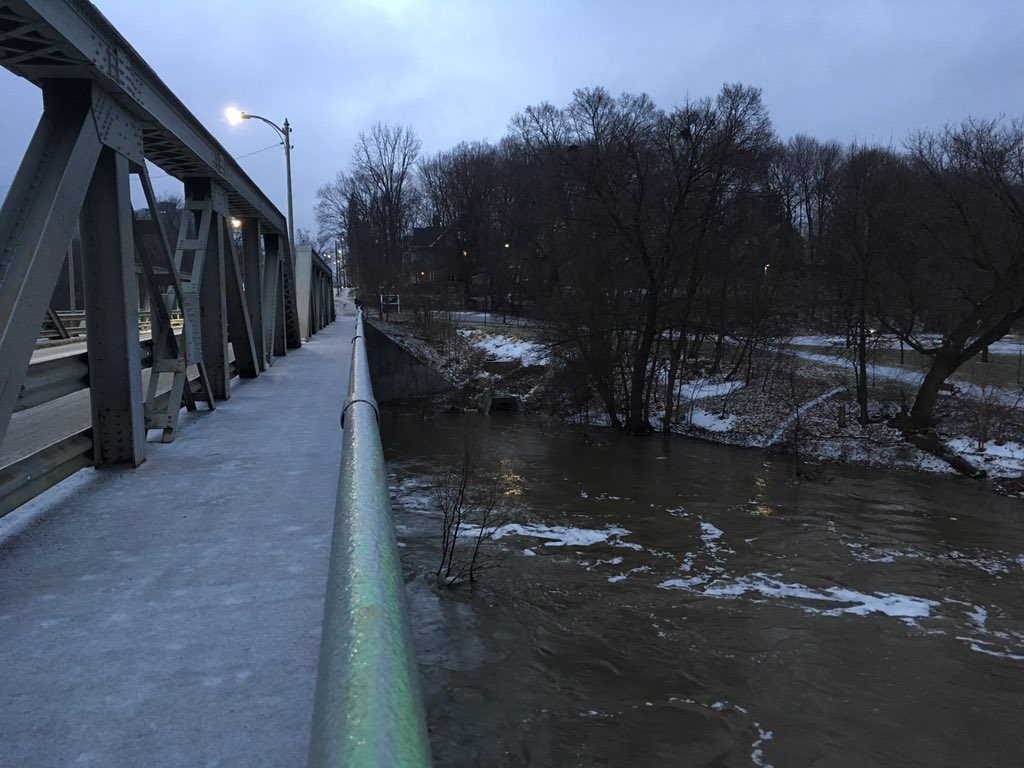 The Ridout Street Bridge over the Thames River, covered in a layer of ice the morning of Feb 6, 2019.