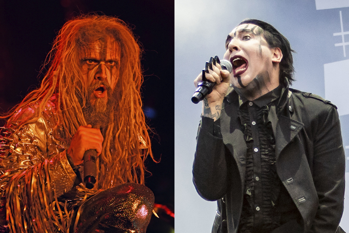 (L-R) Rob Zombie and Marilyn Manson performing live.