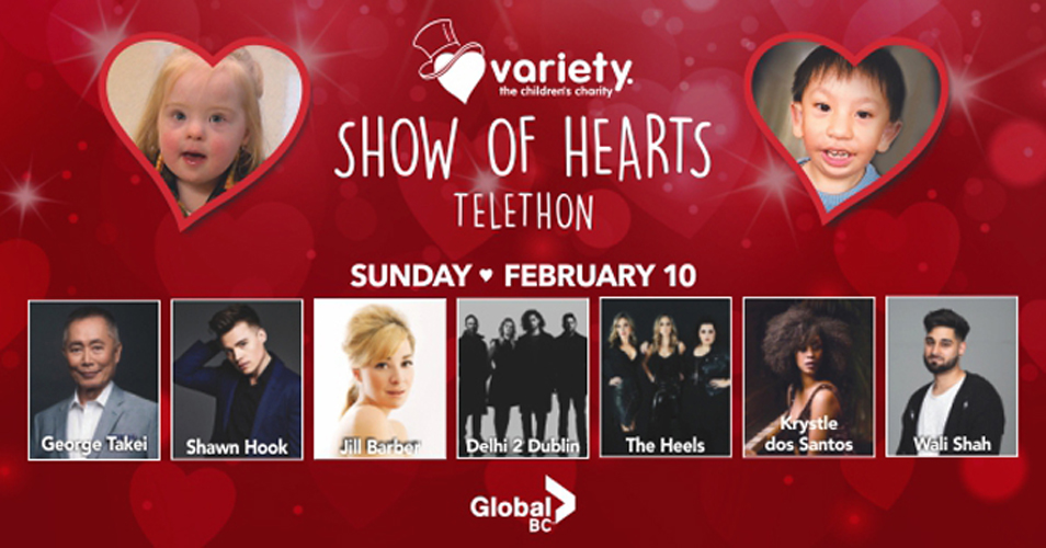 The Variety Show of Hearts Telethon takes place on Sunday, Feb. 10, 2019.