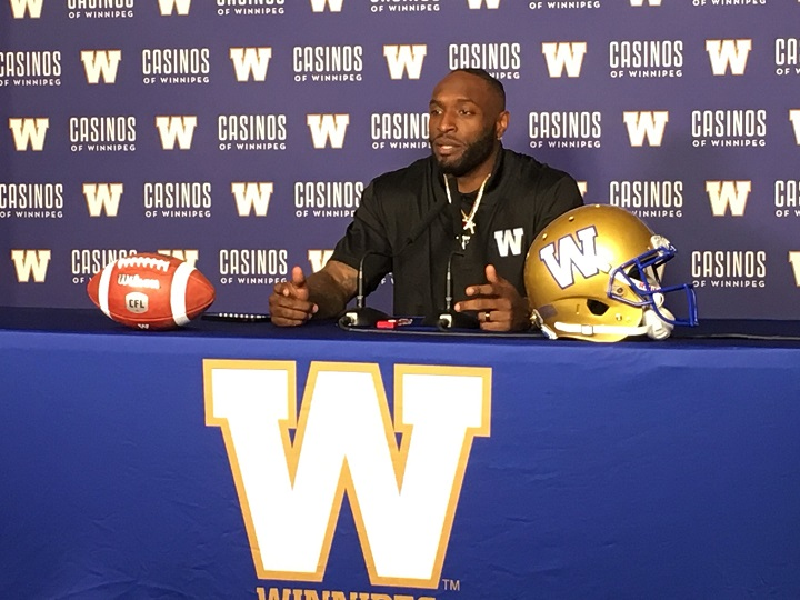 New Winnipeg Blue Bombers defensive end Willie Jefferson talks about his decision to join the team on Friday at Investors Group Field.