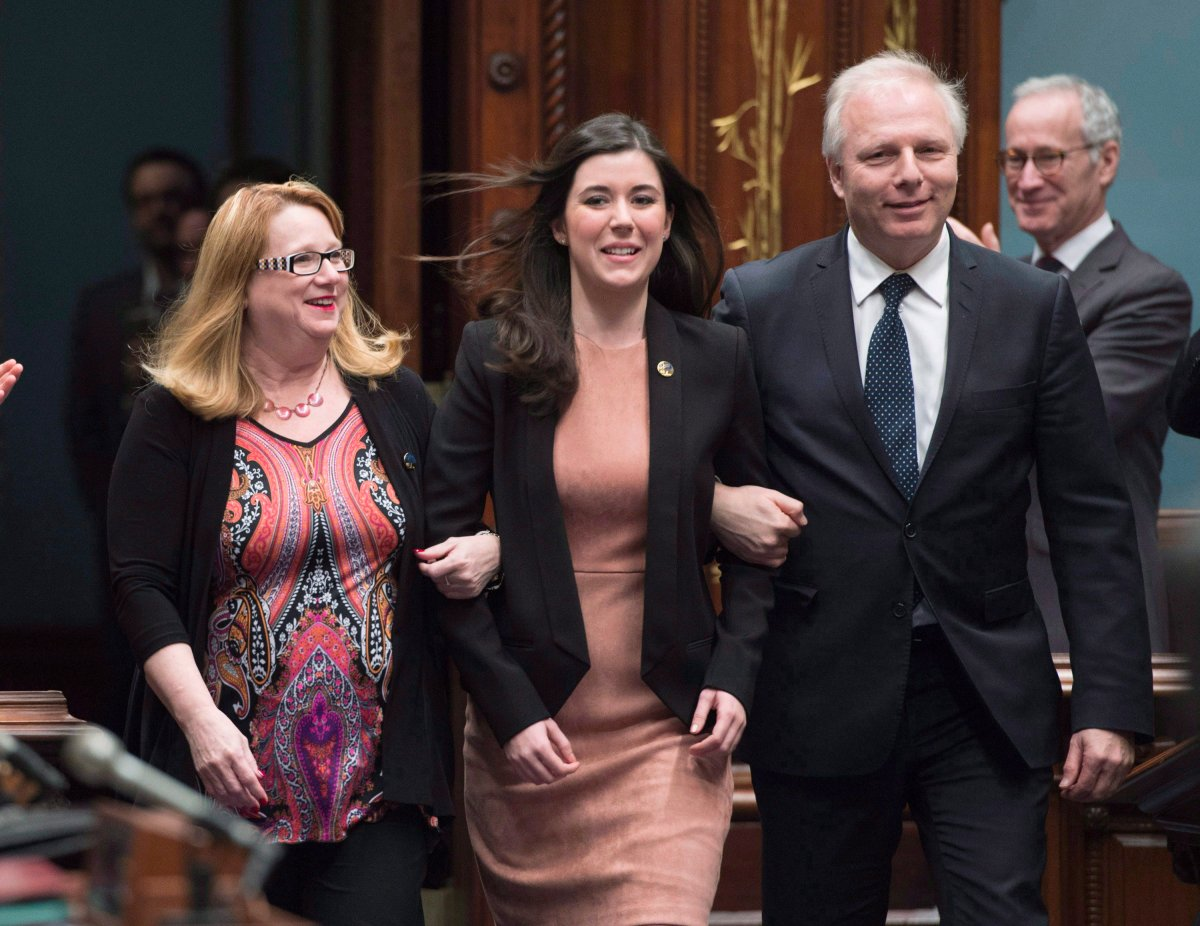Catherine Fournier, centre, with Jean-François Lisée, right, and Carole Poirier in 2017.