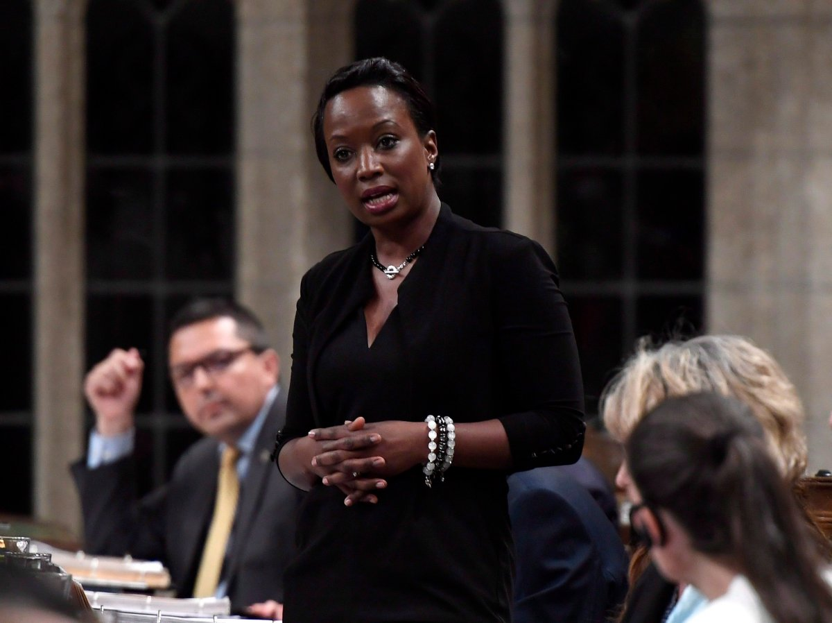 Celina Caesar-Chavannes rises during Question Period in the House of Commons on Parliament Hill in Ottawa on Friday, May 25, 2018.
