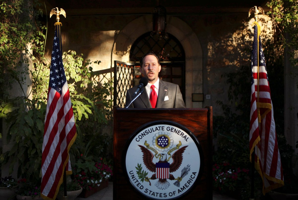 FILE - In this June 30, 201, file photo, then U.S. Consul General of Jerusalem Daniel Rubinstein gives a speech during a reception for the upcoming July 4 U.S. Independence Day celebrations at the American Consulate in Jerusalem.