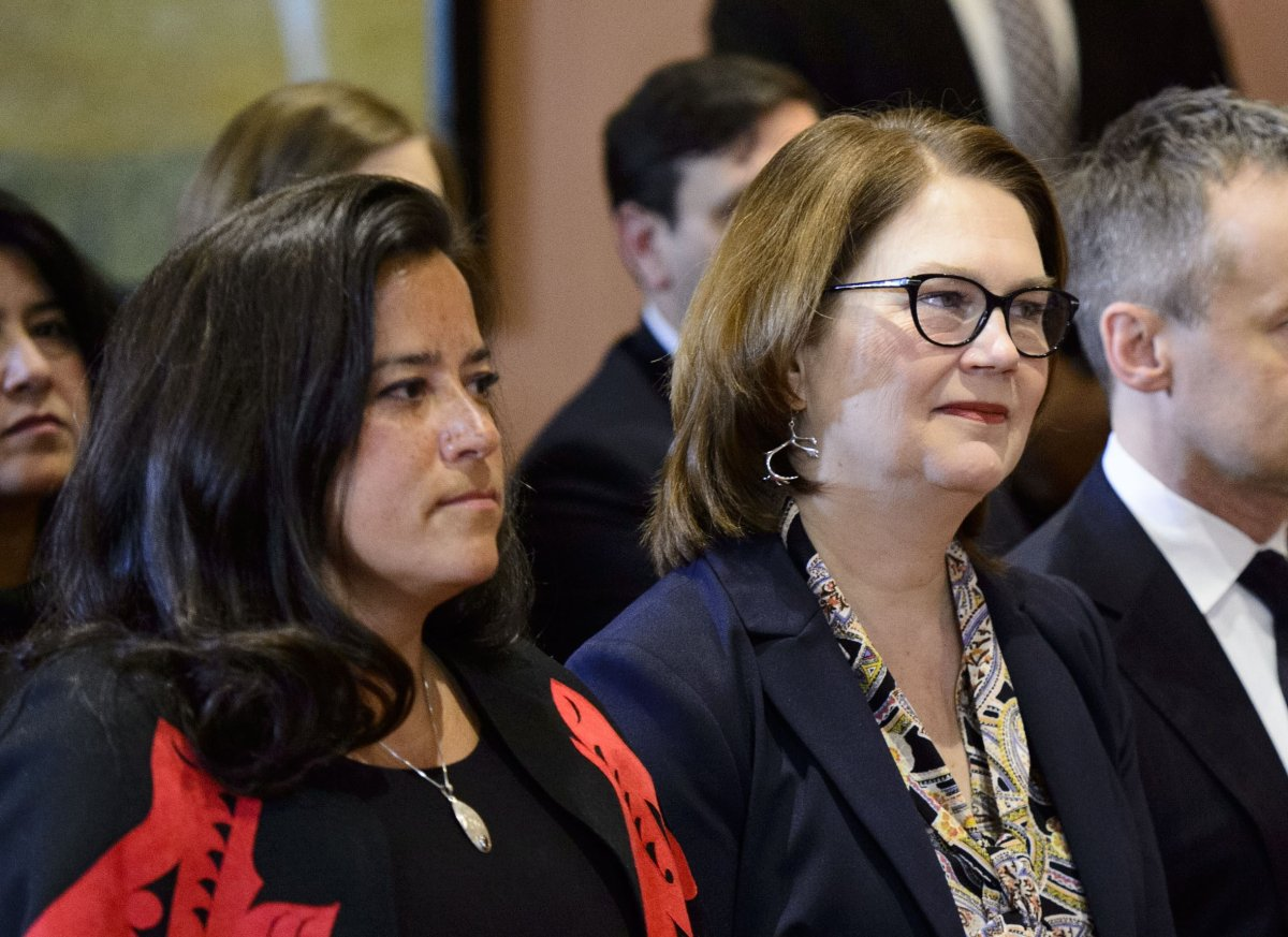 Liberal MPs Jody Wilson-Raybould and Jane Philpott during the January 2019 cabinet shuffle.