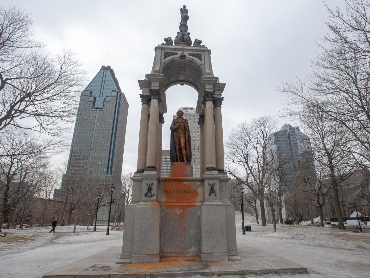 The statue of John A. Macdonald was vandalized again Thursday, March 21, 2019 in Montreal. A group claiming responsibility says they want the statue removed alleging the former prime minister was a racist.